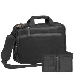 Chesterfield Leren Laptoptas zwart Sherlock + gratis Wallet
