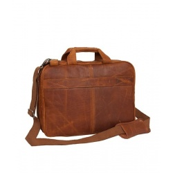 Chesterfield Leren Laptoptas Cognac Sherlock