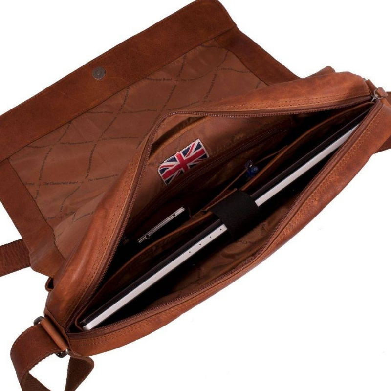 Chesterfield Leren Messenger Laptoptas 'Glenn' Cognac qZqaUr